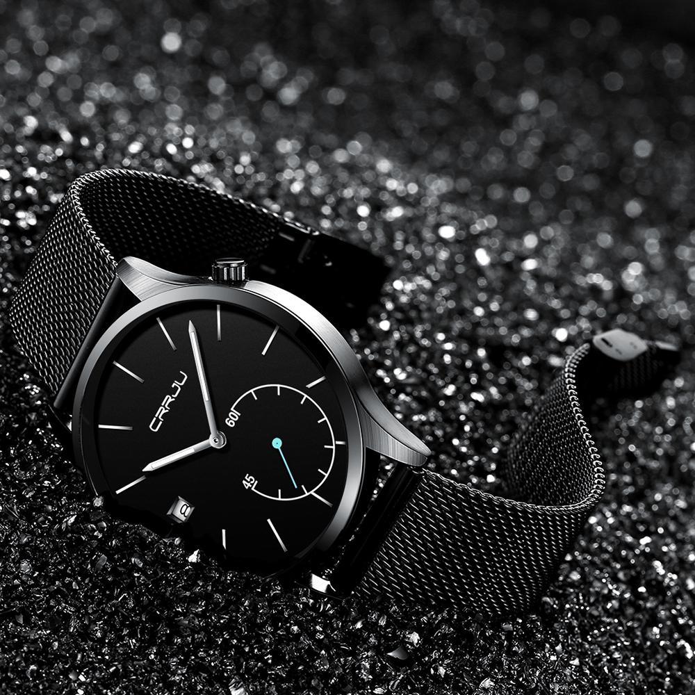 2020 CRRJU Top Marca Mens Relógios De Luxo Quartzo Casual Assista Homens de Aço Inoxidável Malha Relógio Relogio Masculino Drop Shipping