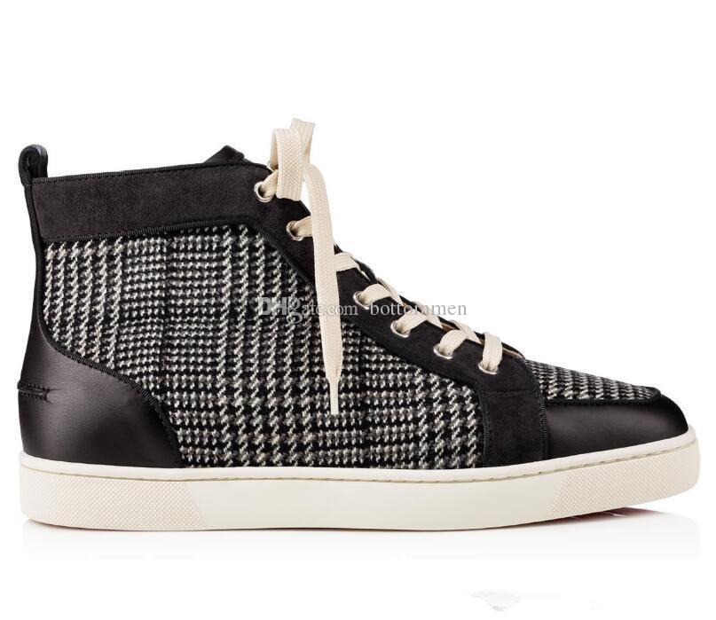 2019 Мужские кроссовки с красной подошвой LowTop Fashion Canvas Check Дышащие кроссовки с красной подошвой Junior Luxury Design Повседневная обувь на плоской подошве