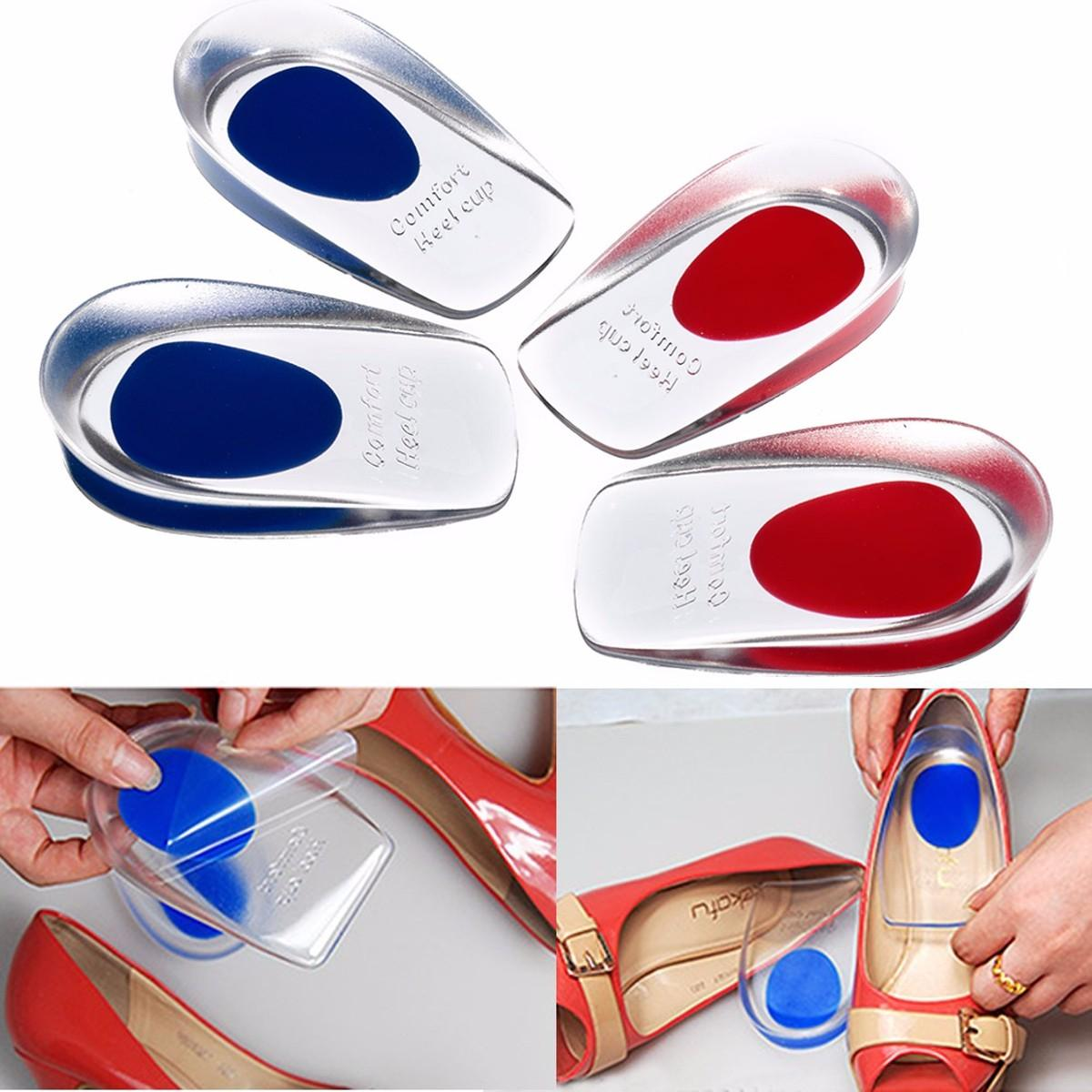 1 Pair Silicone Gel Shoes Inserts Insoles Men Women U-Shape Heel Protective Pain Relief Cushion Heel Cup Massage Pads