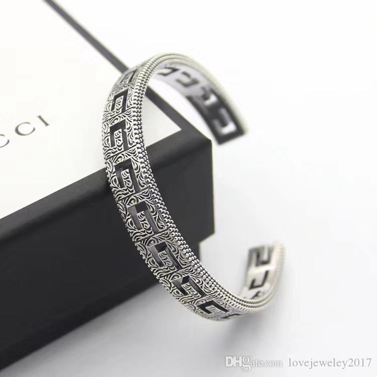 homens de prata luxo designer de pulseira pulseira para fora oca manguito pulseira aberta pulsera bijoux jóias finas