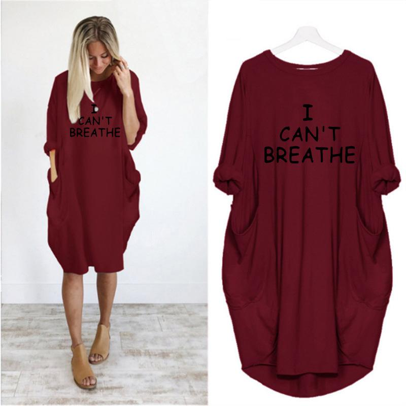 Kadınlar Harf Baskılı Elbiseler Moda Tasarımcısı Bayan Elbise Moda Casual Gevşek Uzun Kollu Giyim Yaz Yeni Breathe Can not