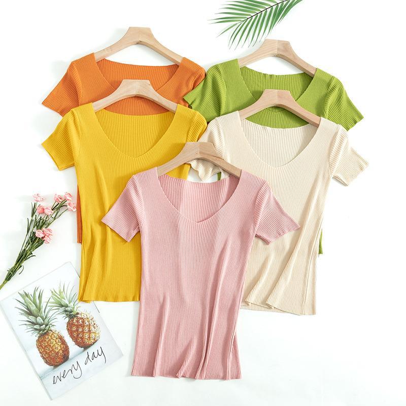 OUMENGKA básico de punto con cuello en V Camiseta de las mujeres de primavera y verano acanalado suéter del algodón suave Tops Mujer de manga corta camiseta Delgado T200613