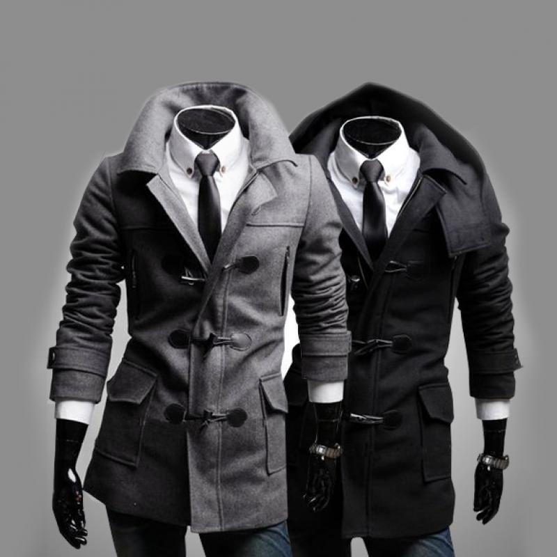 Mode secouez à capuche en tweed Manteau Vestes Slim Fit OutCoat Pardessus coupe-vent Manteaux pour hommes occasionnels