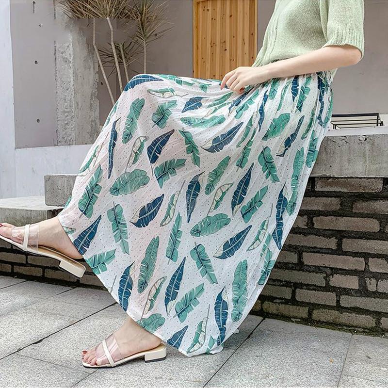 2020 Printemps Eté Mesdames coréenne Blanc Noir Imprimer Taille haute école Sun Maxi jupe plissée Jupe longue Femmes Femme