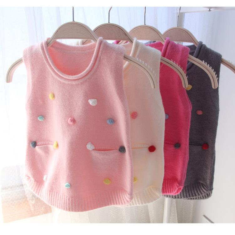 Autumn Children's Sweaters Girls Hand-colored Vests Baby Girl Knit Vest Spring Baby Girls Clothing