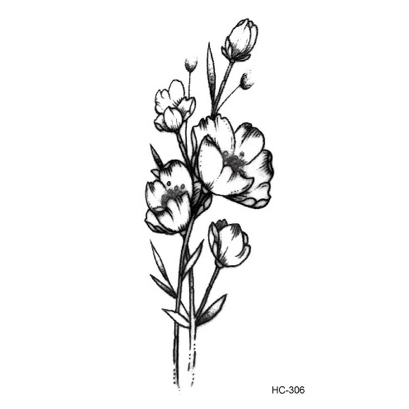Acheter Vente Chaude Temporaire Blanc Dessin Corps Noir Art Floral Fleurs Transfert De Leau Petit Ballet Autocollant Faux Tatouages De 274 Du