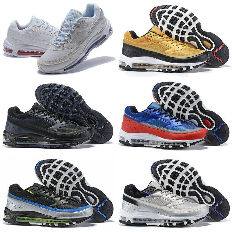 El más nuevo diseñador de zapatillas de deporte de los hombres de oro blanco azul del hombre clásico del bw Deportes entrenador de superficie transpirable chaussure homme número de calzado 40-46