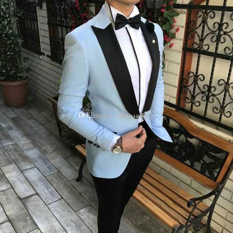 Beliebte One Button Light Blue Bräutigam Smoking Spitze Revers Groomsmen Herren Anzüge Hochzeit / Prom / Abendessen Blazer (Jacket + Pants + Tie) K323