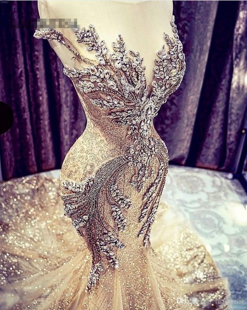 2K19 Gold Prom Dresses Mermaid African Evening Gowns Sheer Jewel Beaded Backless Modest Formal Party Special Occasion Dress