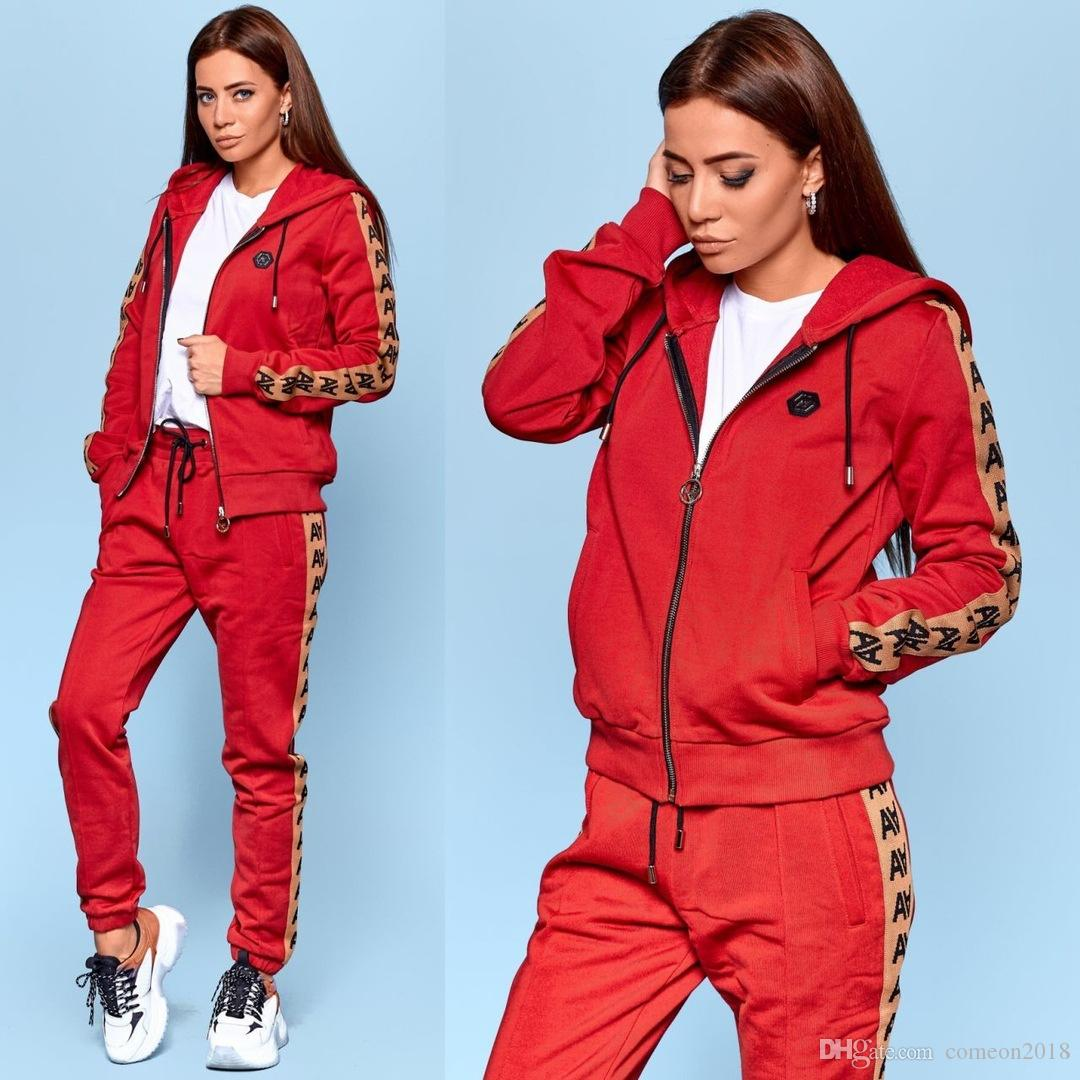 Designer Women Sport Wear 2 Piece Pants Hooded Tracksuits Sexy Women Casual Suit Zipper Pullover With Pant Jogging 2pc Set