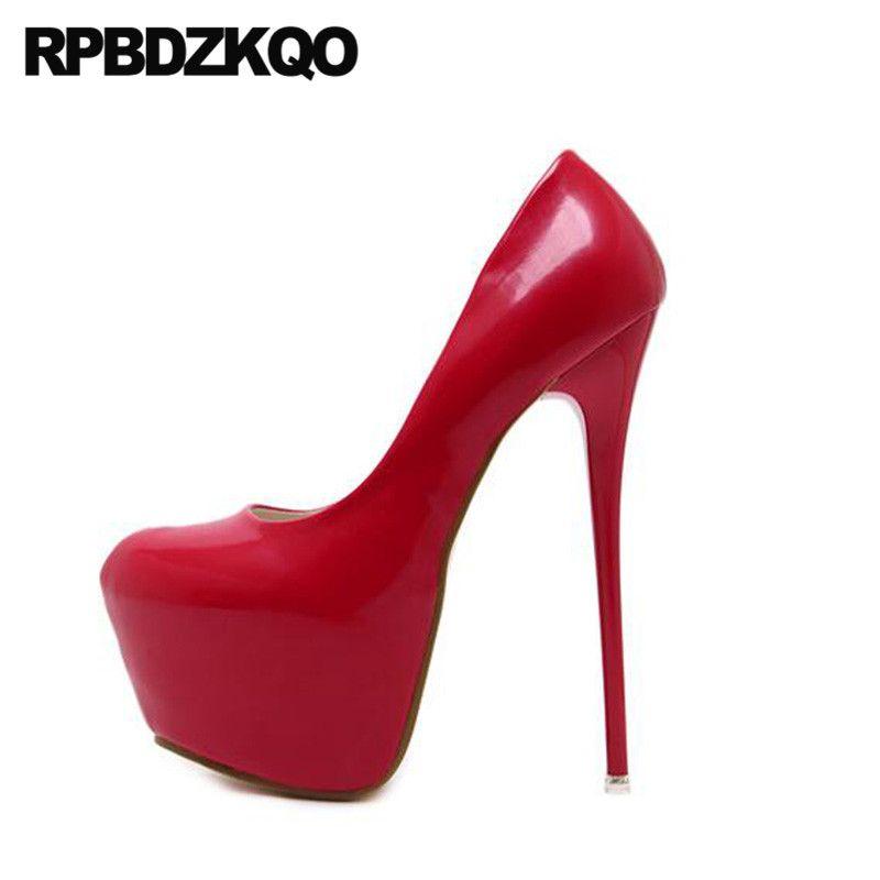 Bombas plataforma redonda sapatos moderna dançarina exótica scarpin stiletto saltos altos fetiche de ultra mulheres 16cm góticas passarela de stripper vermelho