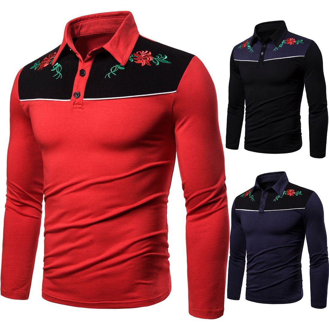 Herbst-Winter-Langarm-T-Shirt Gestickte Blumen Herren Polo Shirts Marken zufälliges Polo 2019 für Männer S-2XL AOWOFS Marke J1906146