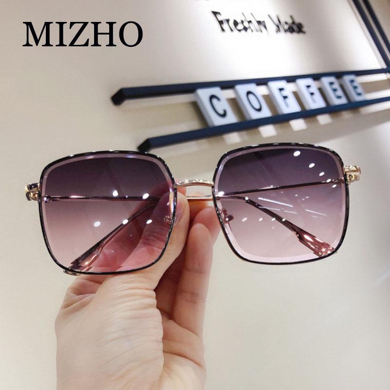 MIZHO metallo Occhiali da sole donna Moda strass Piazza taglio grigio sfumato Vintage Occhiali da sole signore alla moda