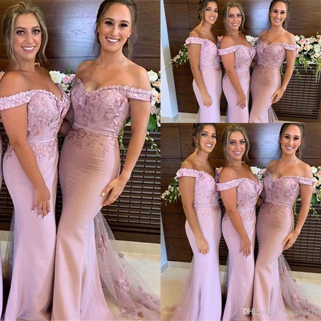 Русалка с плечевой кружевной аппликации Цветы Длина длиной на длину для свадьбы Гостевые платья Платье вечеринки Дешевые африканские розовые платья подружки невесты