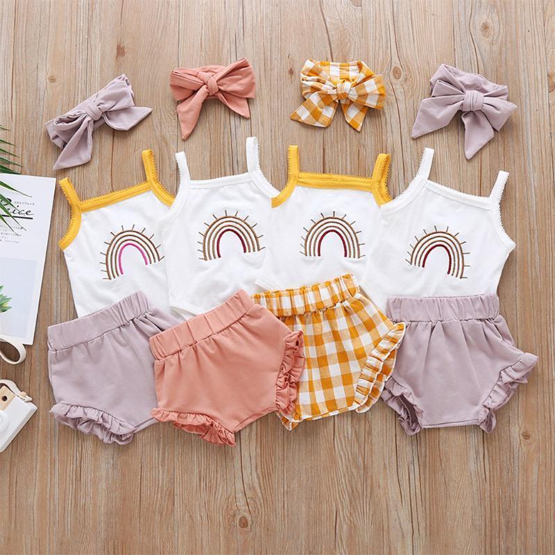 2020 Bebek Bebek Kız Erkek Pamuk Giysileri 0-24 M 4 Renkler 3 adet Yaz Kıyafetler Bebek Fırfır Kolsuz Romper Tops + Yüksek Bel Şort