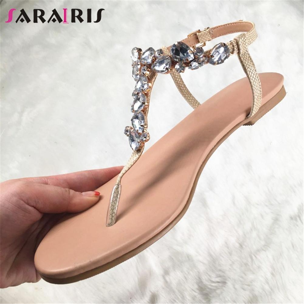 SARAIRIS Brand Design Big Size 35-47 Leisure Crystals Top Quality Beach Women Shoes Summer Flat Shoes Woman Sandals flip&flops