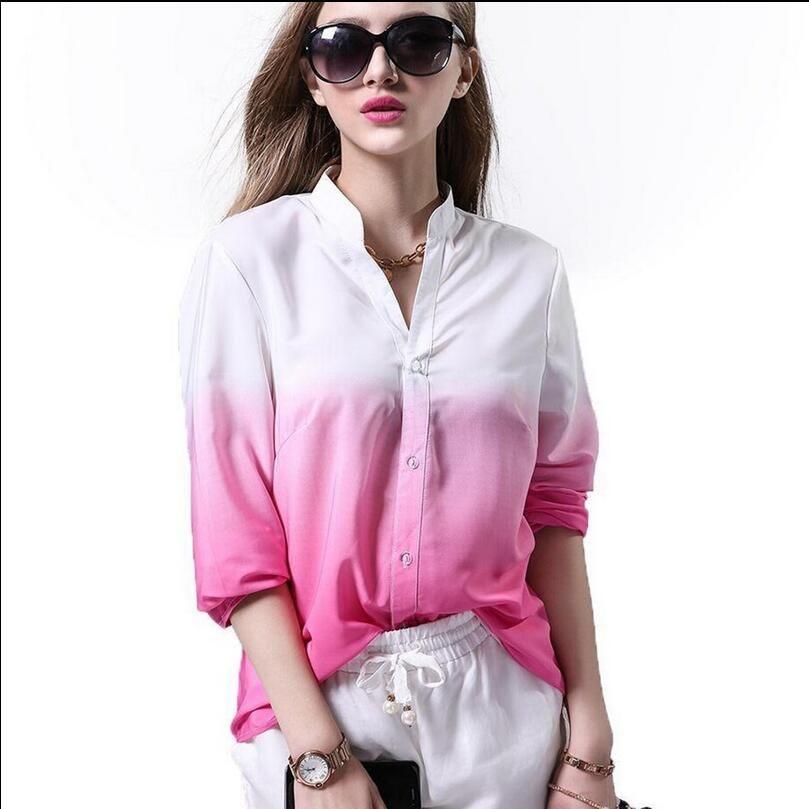 Frauen Langarm V-Ausschnitt Gradient Plus Lässige Knöpfe Hemd Bluse Tops