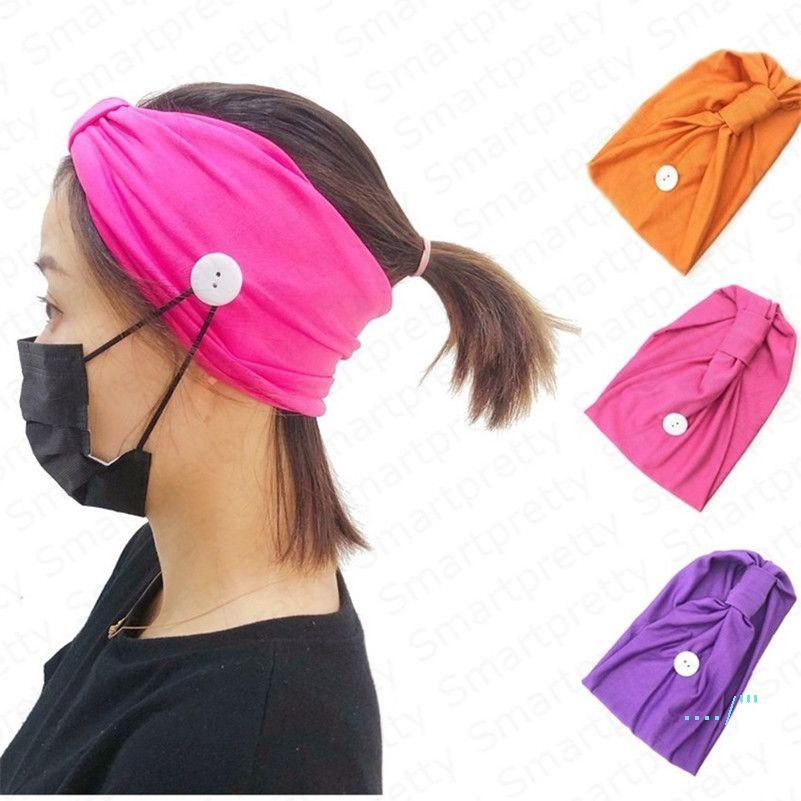 Trendy Mulheres Meninas Headband para a máscara Sólidos Esporte Cor Gym Knit capa Faixa de Cabelo com o botão auriculares com atenuação Yoga Wearable Absorvendo Hairlace E4911