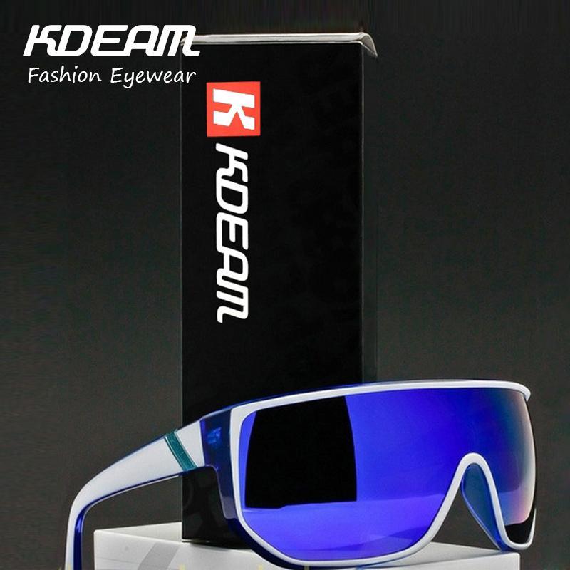 KDEAM hombres Oversize gafas De Sol 2018 verano moda tamaño grande marco marca diseñador mujeres Metal bisagras Oculos De Sol UV400 con caso Y200420