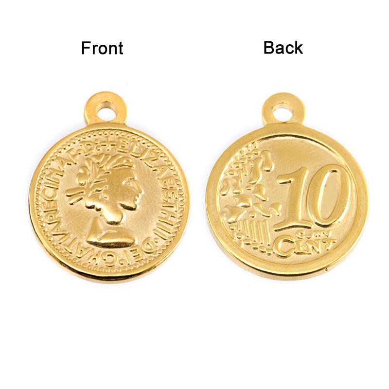 100% monedas de acero inoxidable colgante de la Mujer Elizabeth oro redondo de plata encantos para el collar al por mayor 10 piezas
