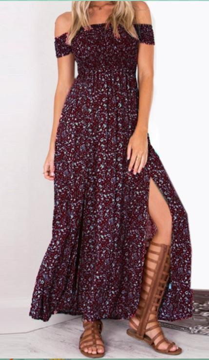 Fashion-senza spalline Beach Summer Dress Sundresses della Boemia maxi Robe Femme Boho donne floreali Split abiti lunghi Vestido
