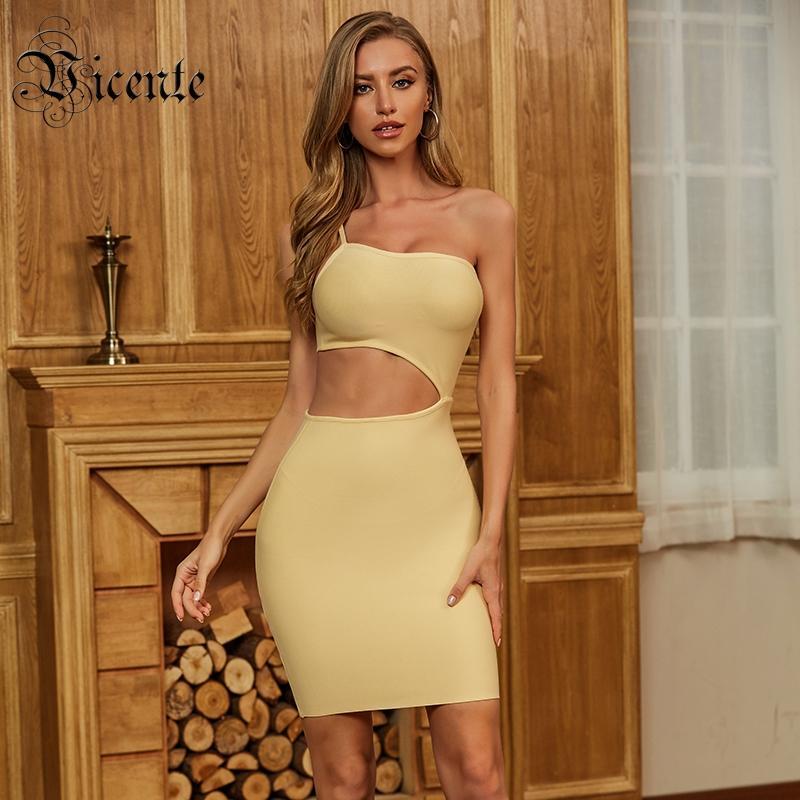 VC Toutes Livraison gratuite 2020 New Chic Jaune Mini robe sexy une épaule taille évider Party Celebrity Club Bandage Dress
