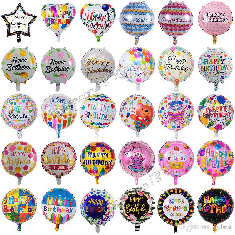 18 Inç şişme doğum günü partisi balonlar süslemeleri kabarcık helyum folyo balon çocuklar mutlu doğum günü balonları oyuncaklar malzemeleri