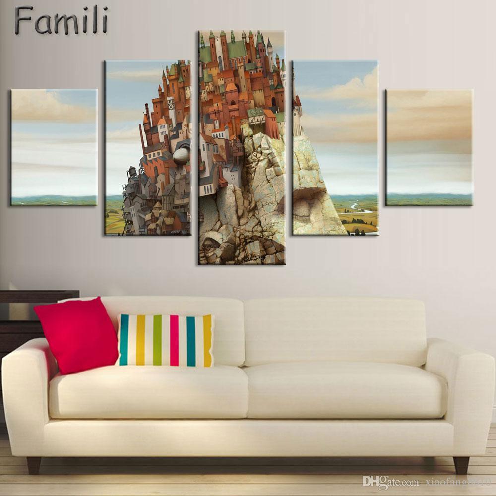 5 Adet Modern Oturma Odası Duvar Asılı Sanat Soyut Manzara Renkli Ağaçlar Dağ Sanatı Mantıksal Zihin