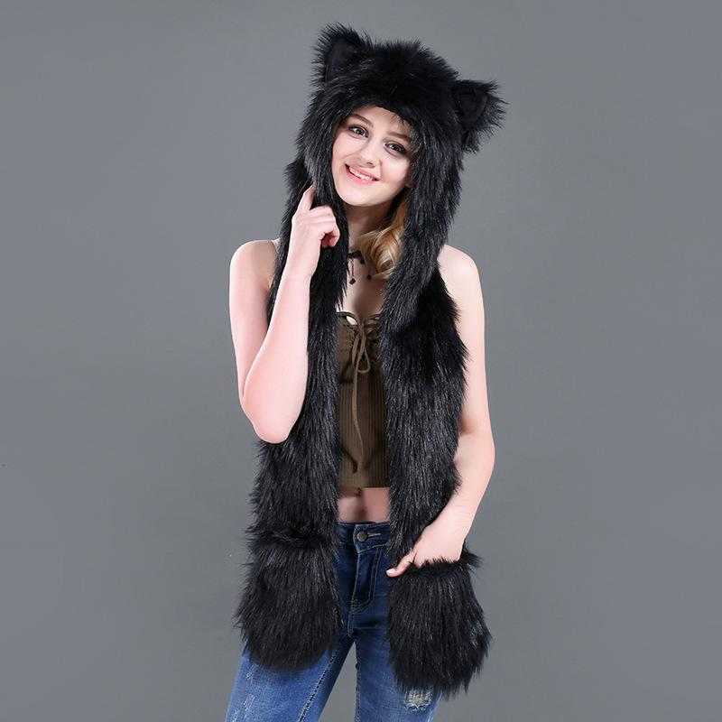 New 3 In 1 Scarf Hat Glove Suit Winter Imitate Leather And Fur Hats Lint Animal Hat Lovely Cartoon Hats Scarf Glove One