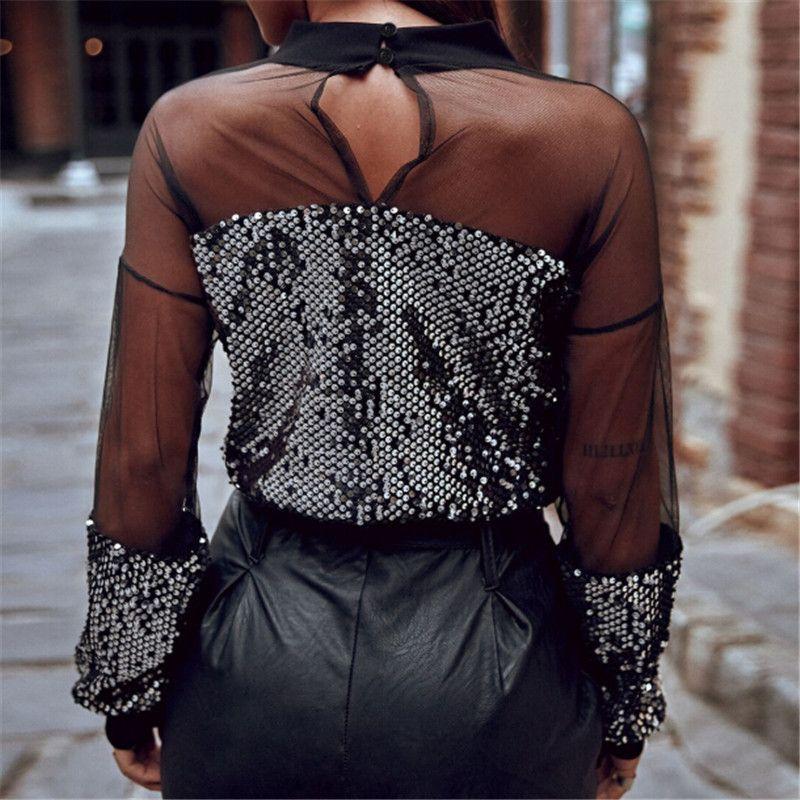 최신 유행 여성 의류 섹시한 긴 소매 장식 조각 느슨한 넥 T 셔츠 한 조각 둥근 반투명 풀오버 폴리 에스테르 탑