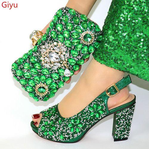 Sapatos verdes italianos e sacos para sapatos Match Set nigerianos e Matching Bag casamento Africano Bag Set! FHJ1-1