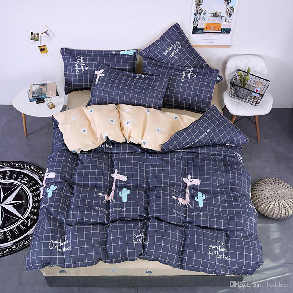 Giraffe Literie Taille Unique Cute Cartoon Marine Housse de couette Grille Roi Reine pleine double couverture de lit confortable avec Taie