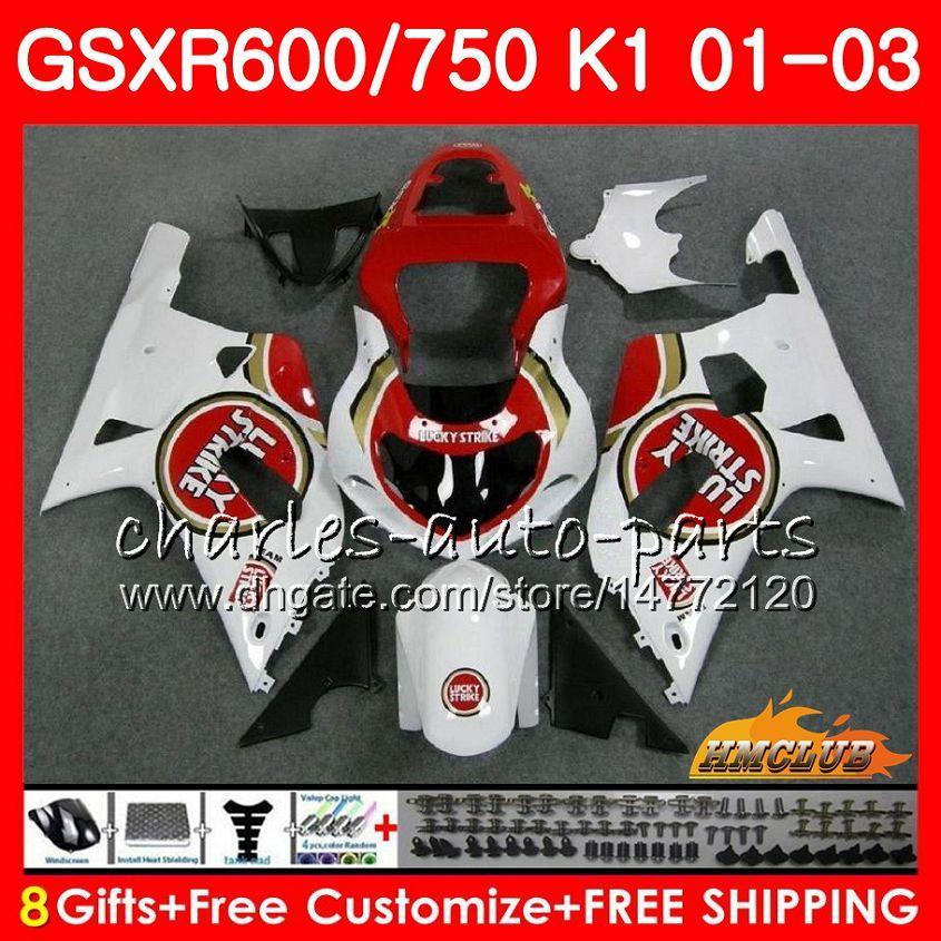 8Gifts cuerpo para SUZUKI GSXR Lucky Strike 600 750 2001 2002 2003 GSXR600 4HC.21 GSX R750 GSXR600 GSXR750 K1 GSXR750 01 02 03 carenado kit