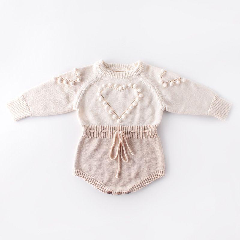 ropa de diseñador para bebés y niños Mameluco de punto Manga larga Amor Corazón Diseño Mameluco Ropa 100% algodón niña mamelucos cálidos 0-2T
