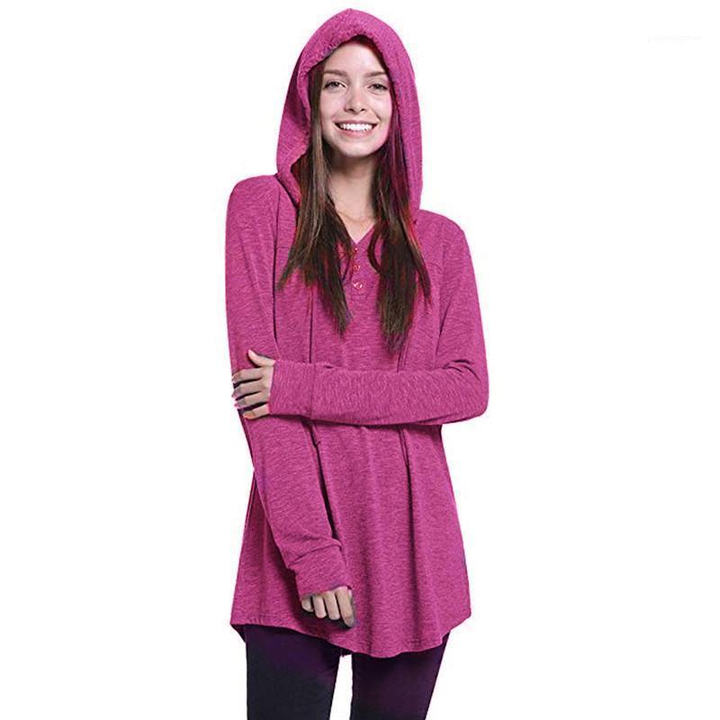 Casual Womens Hoodie nuovo a maniche lunghe con cappuccio con plissé Button cappuccio donna sportiva Designer con cappuccio di tendenza di modo della gioventù