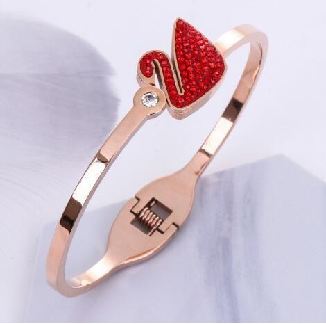 새로운 우아한 티타늄 강철 로즈 금 검정 빨간 다이아몬드 버클 거위 열려있는 팔찌
