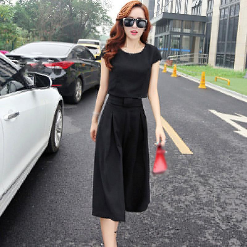 2pcs Women\'s Casual Round Neck Short Sleeve Solid Color Tops + Wide Leg Pants Plus Size Ladies Fashion Suits