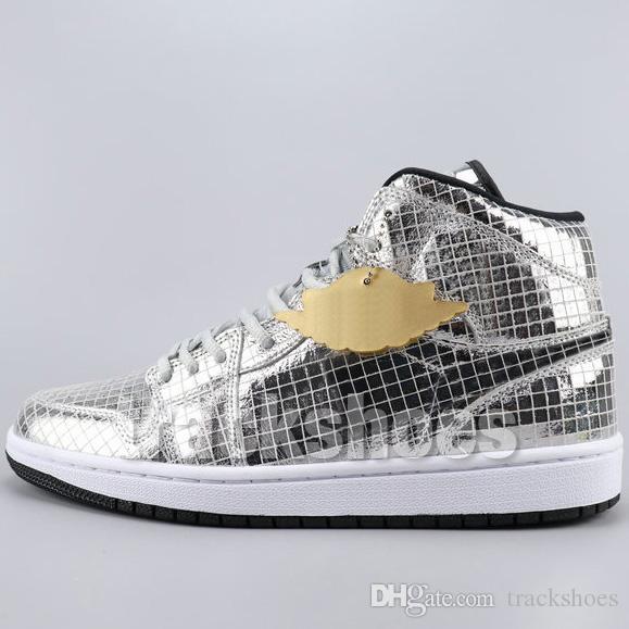 Zapatos Dunk 1 bola de discoteca de plata para hombre de baloncesto de las mujeres UNC NRG OG Chicago White zapatillas de deporte del dedo del pie 1s Trainer Negro de zapatos deportivos con la caja