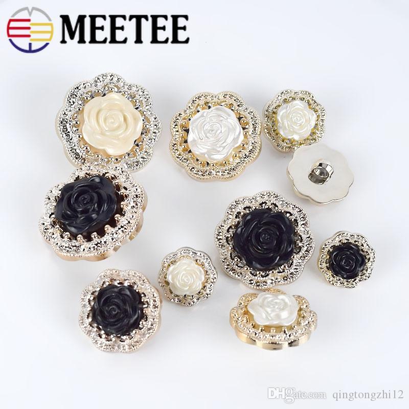 MeeTee plástico caña Botón para la capa capa de las mujeres blusas Traje Sweater18cm 35mm flor de la tapicería de costura Accesorios de costura B2-1
