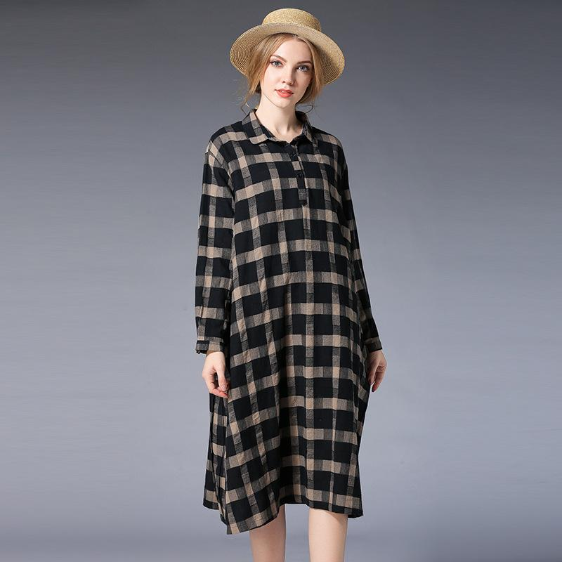 2019 New Spring Women Plus Size Cotton Loose And Fat To Increase The Plaid  Dress F230 Dinner Dresses Dress Designers From Weiyongqin, $27.74| ...