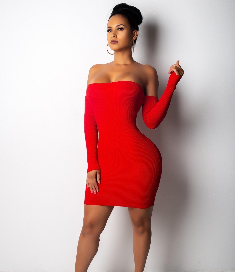 Mode-2019 Femmes Nouveau style sexy bretelles Bind robe manches longues Paquet Clubs de nuit à la hanche Jupe