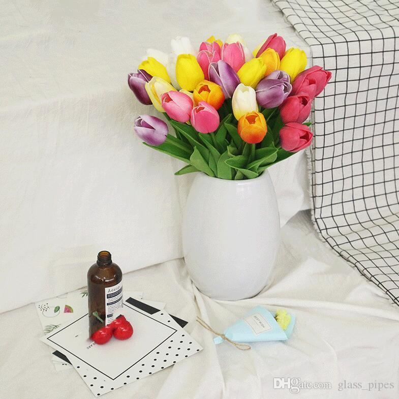 الاصطناعي الزنبق الزهور 17 الألوان توليب 63CM الحرير واحدة ريال الزهور لمسة للديكور يرتكز الزفاف الرئيسية الطرف CCFYZ295