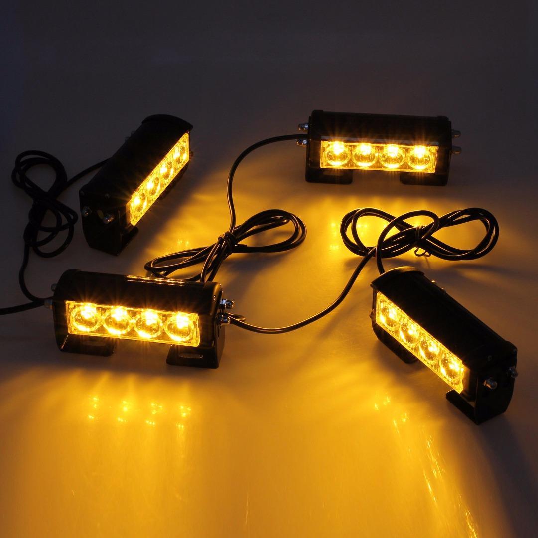Grille Sinyal İkaz Lambaları 4LED Araba Kamyon Strobe Uyarı Yanıp sönen ışıkları 12 / 24V su geçirmez Tehlike Acil