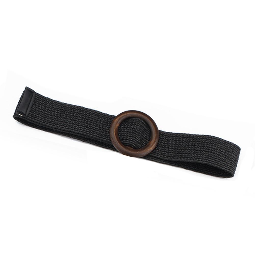 Cinturón sólido del verano de la correa femenina de madera redondo liso hebilla falso paja cinturones anchos para las mujeres de la venta caliente de alta calidad de Nueva