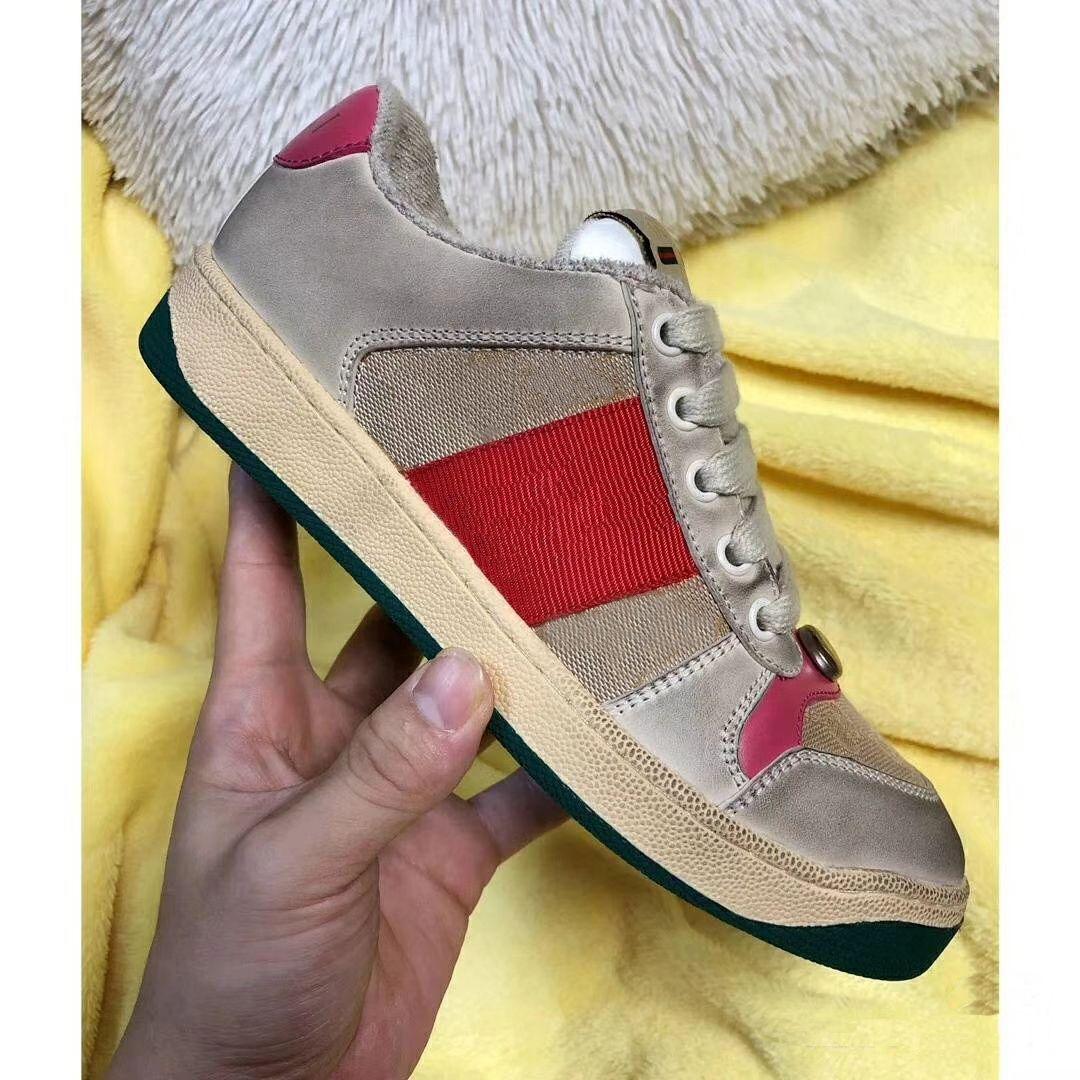 Moda velho sujo da sapatilha das meninas das mulheres Genuine Combinação Canvas Leather Soles Botas Sports Sapatos casuais