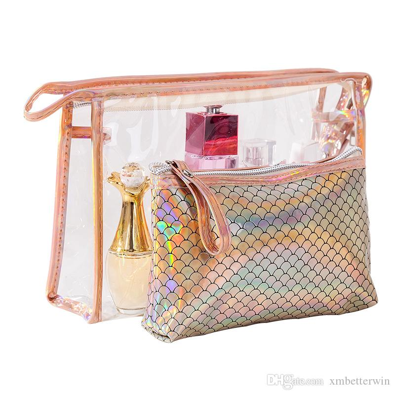 10SETS / LOT Women Cosmetic Bags Fish Scales Laser Zipper Make Up Bags Portable PVC Pouchs Travel Bag Girl Cosmetic Bag