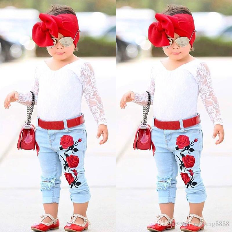 2020 Pudcoco Autumn Kid Girl White Lace Tops T Shirt Denim Pants Jeans Flower Outfits Clothing Flower Kids Baby Girls Clothes Sets From Raoying8888 7 31 Dhgate Com