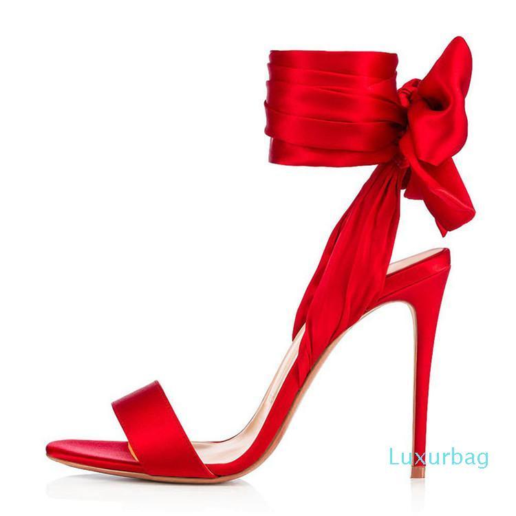 Großhandel Summer Open Toe Ankle Straps berühmten Sandelholz-Frauen-Schuh-Absatz-Blick-Zehe-Sandelholz-Partei-Knöchelriemen-Mode-Rot-T zeigen Schuhe