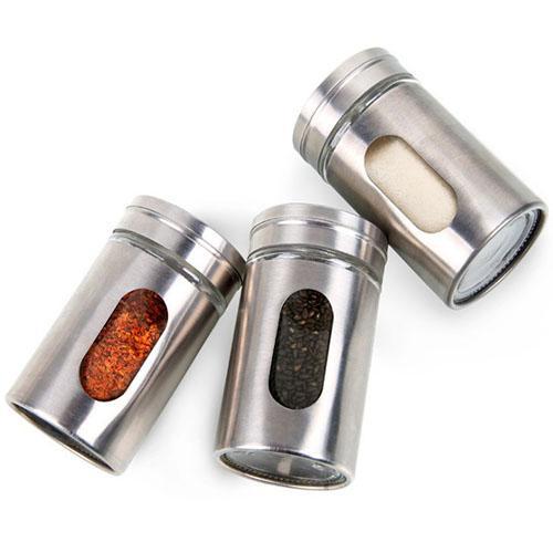Paslanmaz Çelik Baharat Kavanoz Mutfak Baharat Spreyleri Kavanoz Şişe Cam Biber tuzluk Çalkalayıcı Çeşni Pişirme araçları