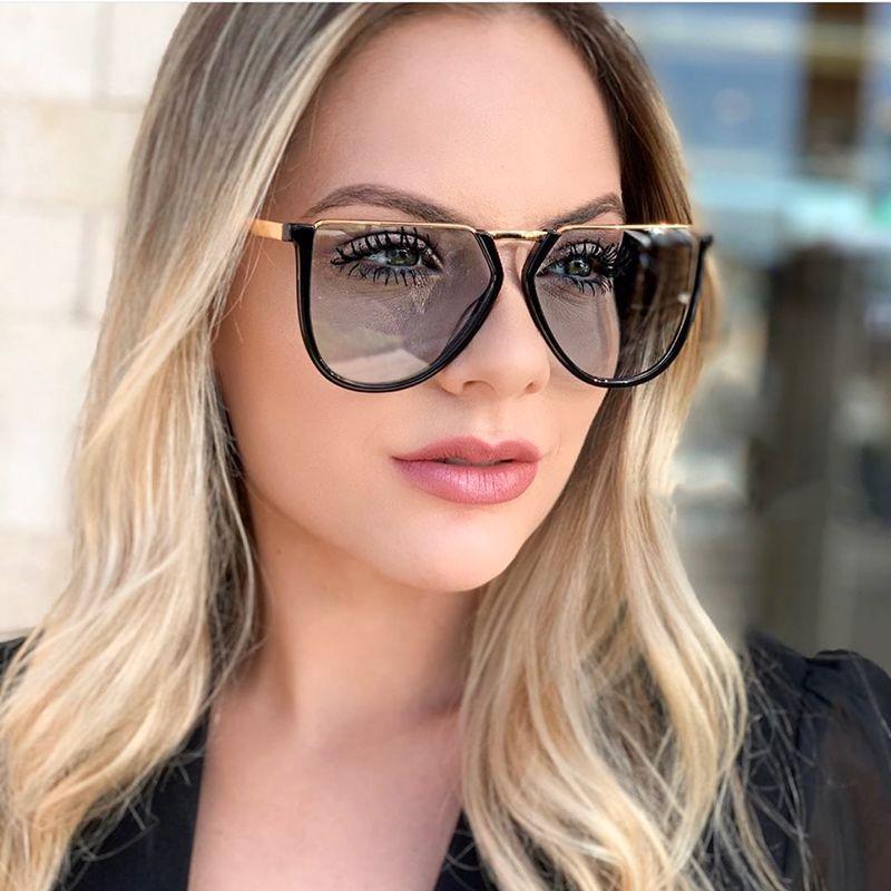 QPeClou 2020 Крупногабаритные солнцезащитные очки Мужчины Урожай металла Нерегулярное Солнцезащитные очки Женщины Марка Оттенки Женский